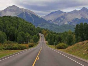 Driving in the Rocky Mountains, USA